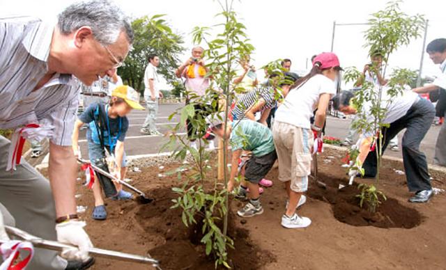 かほく運動公園での記念植樹